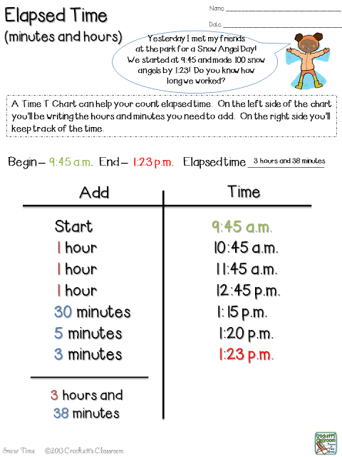 Show your students how to use   chart figure elapsed time without stressing them out crockett   classroom also snow much fun with math for third grade pinterest rh