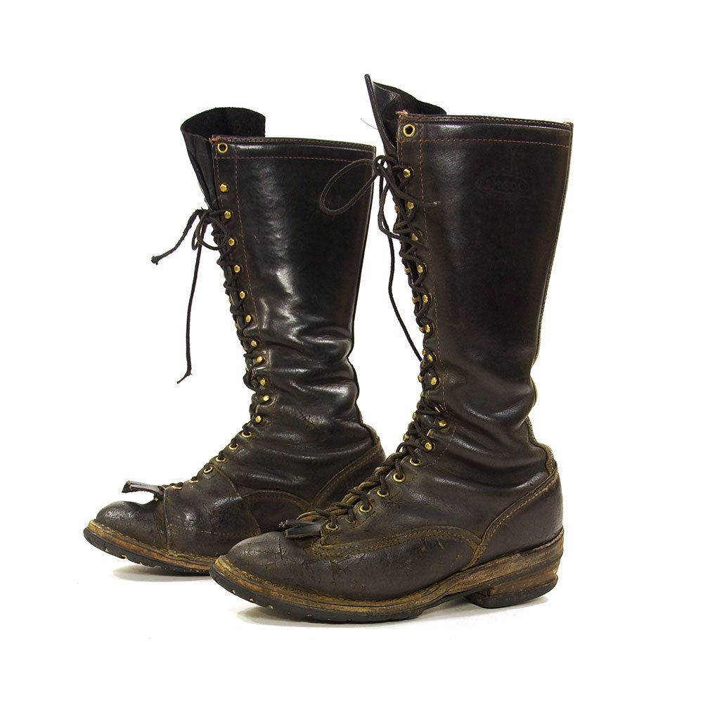 Wesco Lace Up Knee High Lineman Boots / Vintage 1970s Tall Black ...