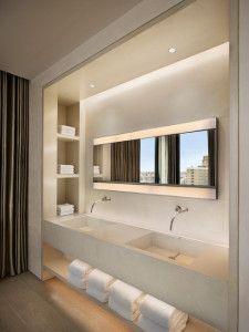 Bad Modern Gestalten Mit Licht_moderne Badezimmer Einrichten Mit Waschtisch  Aus Beton Und Wandnischen Als Platzsparende Aufbewahrung Im Bad