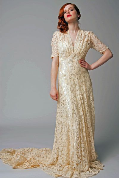 1940s wedding dress from elizabeth avey vintage wedding for Vintage lace wedding dress pinterest