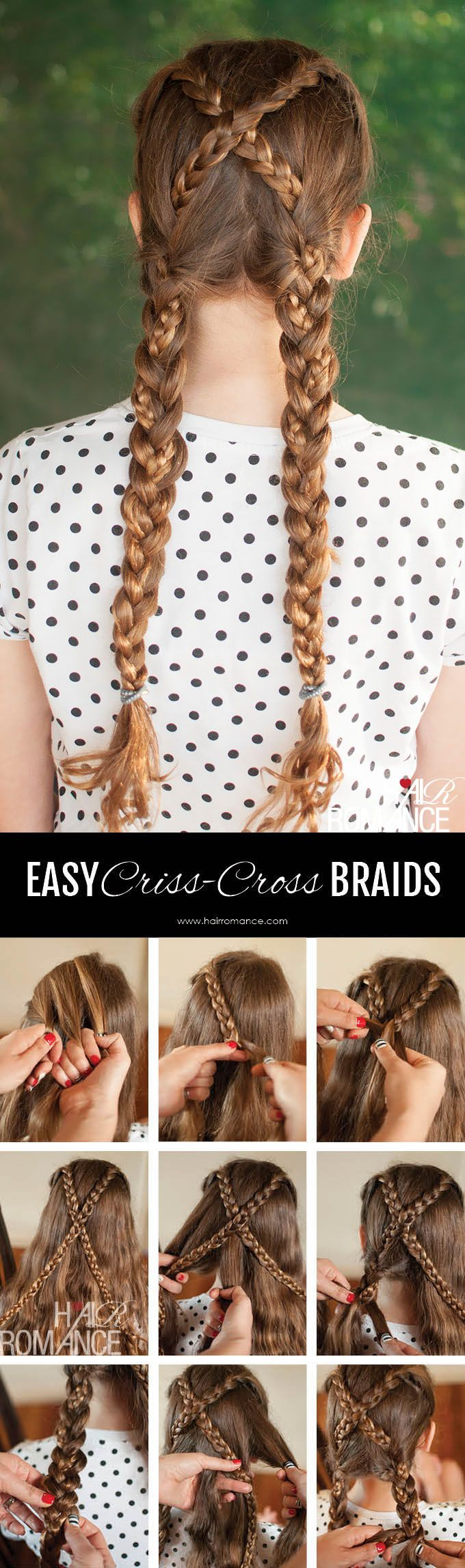 Back to school hairstyles - Criss cross braids tutorial - Hair Romance