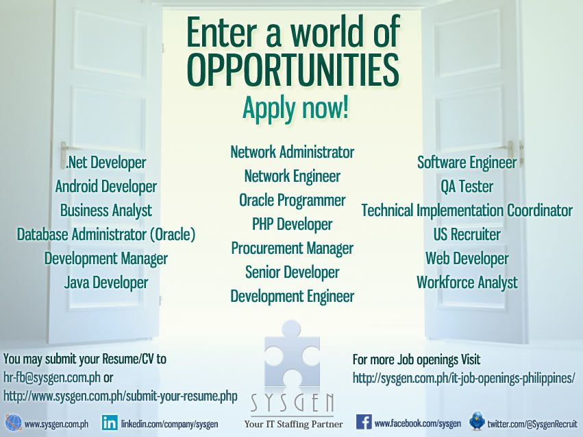 Job openings as of October 11, 2013 SYSGEN Banners Pinterest - System Analyst Job Description