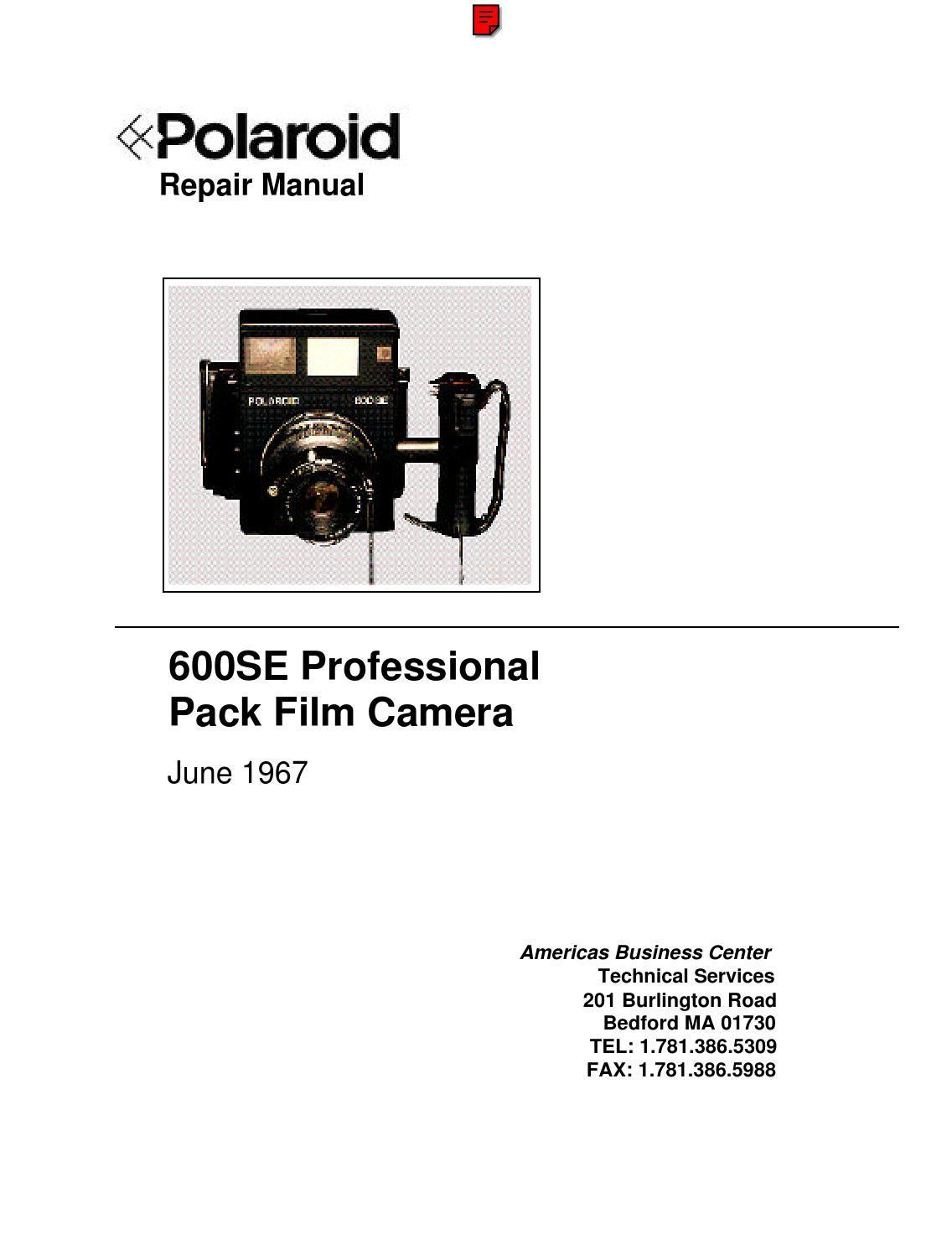 Polaroid 600 And 600se Repair Manual Polaroid 600 Repair Manuals Repair