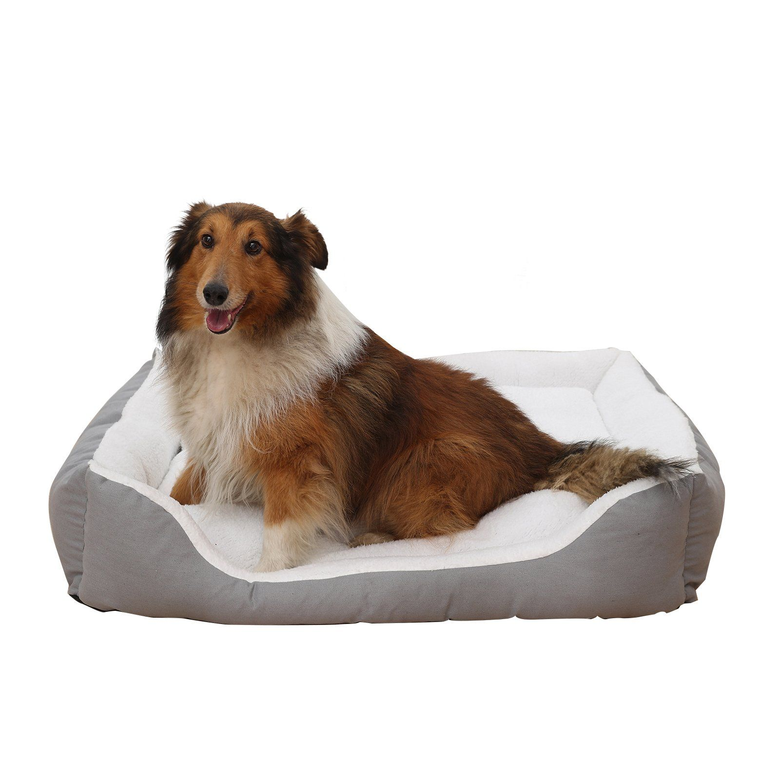 Petwe Pet Bed Soft Plush Dog Bed Reversible Bolster Pillow With Removable Washable Cover Small Medium Large Jumbo Whit Plush Dog Bed Dog Bed Orthopedic Dog Bed