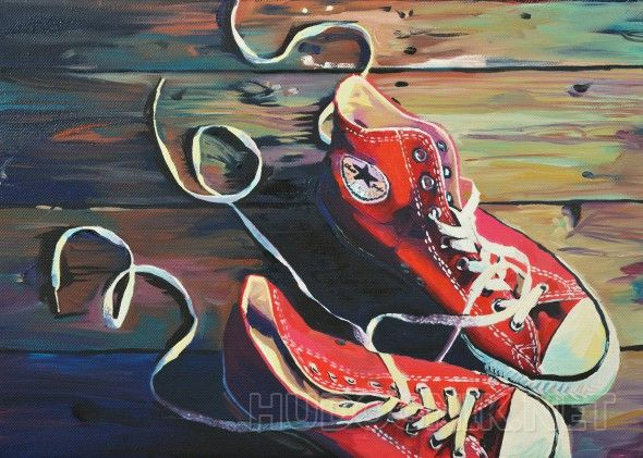 Кеды На картине изображены кеды.