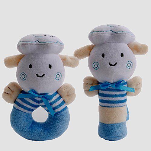 Baby Boy Toys Soft Rattle And Sqeaker Set Plush Blue Lamb Sensory Activity Cute Unique Shower Gifts Idea For Baby Boy Toys Baby Toys Rattles Baby Boy Gifts