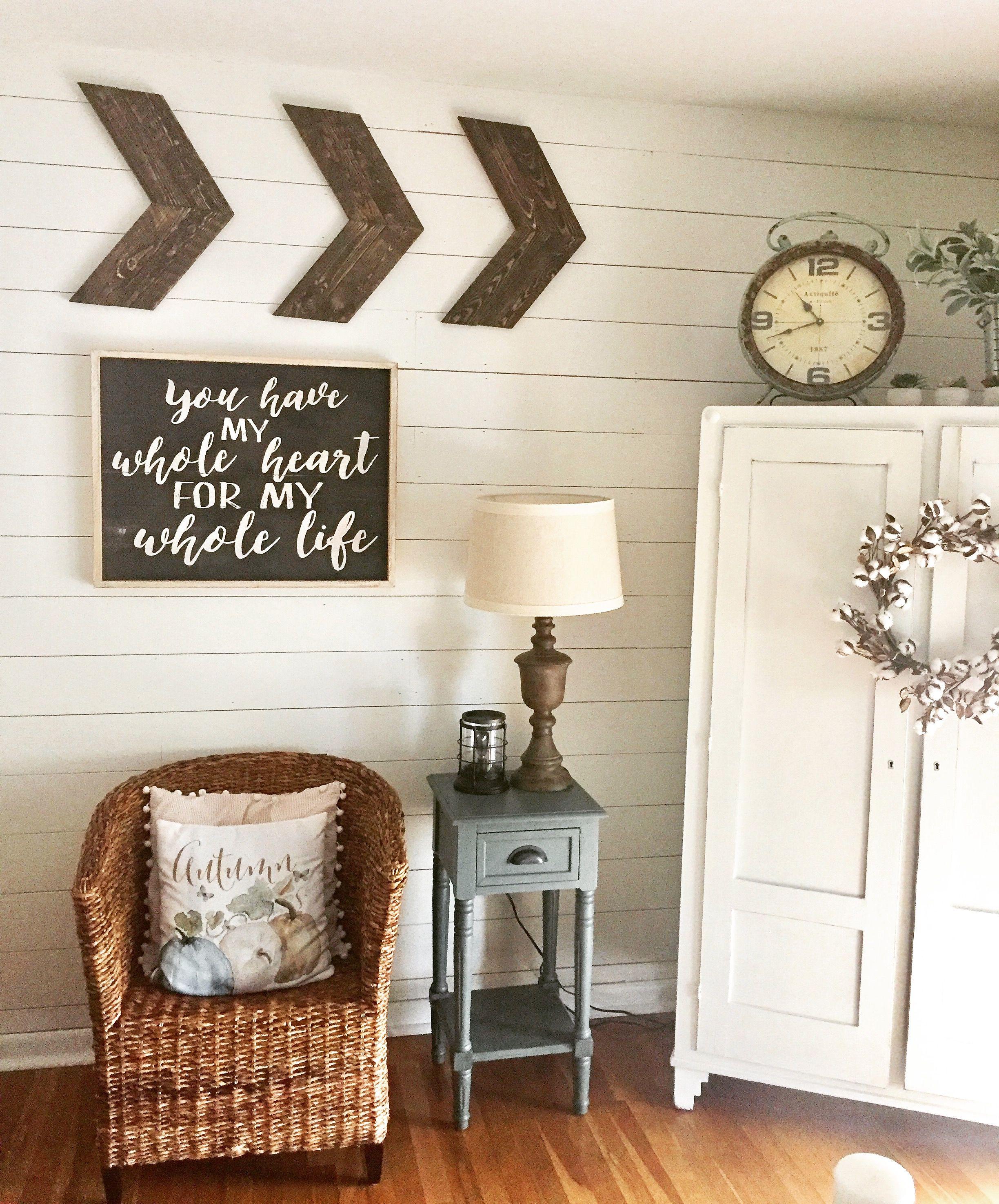Fixer upper inspired living room Farmhouse feel with shiplap