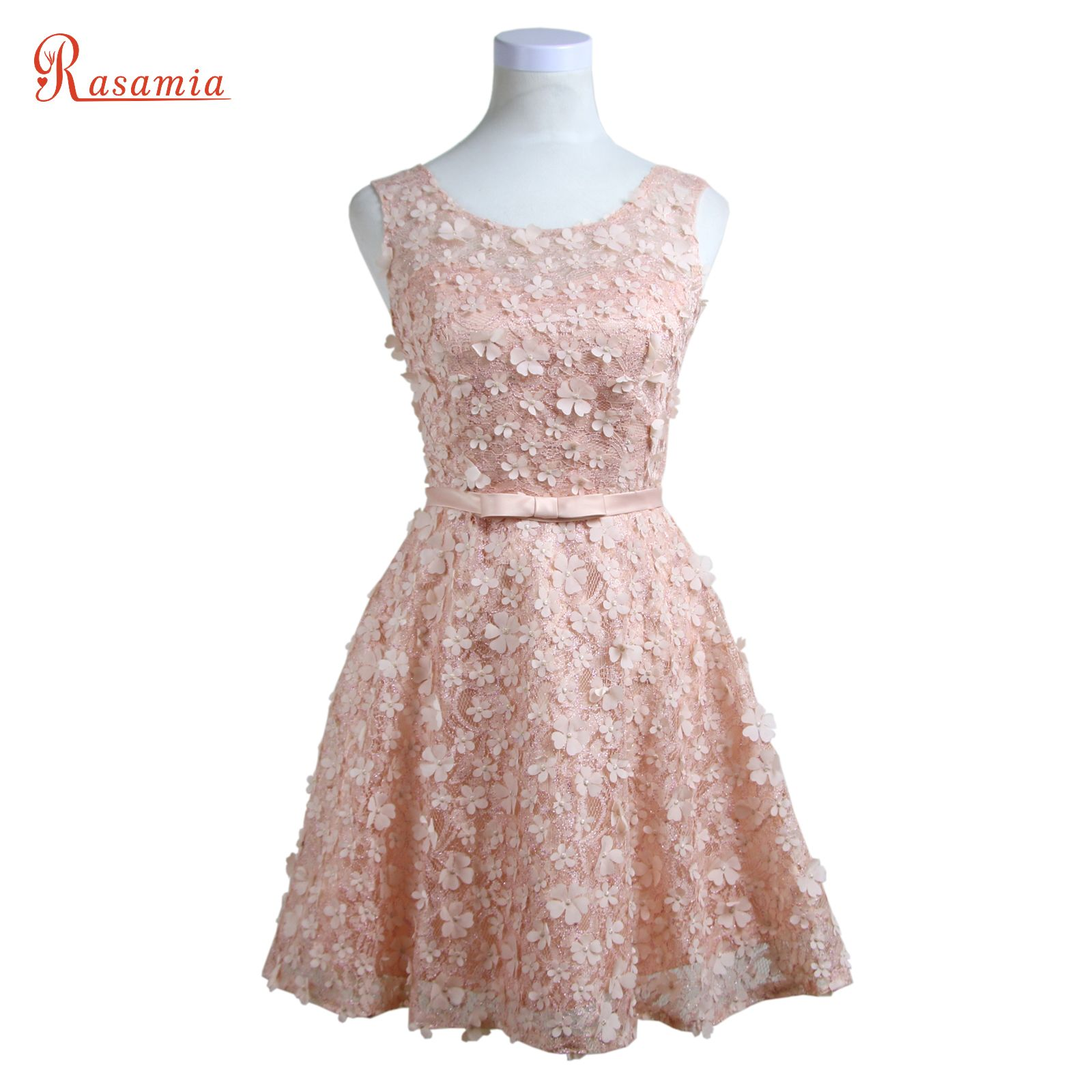 Pink prom dresses short lace appliques evening party gowns silver