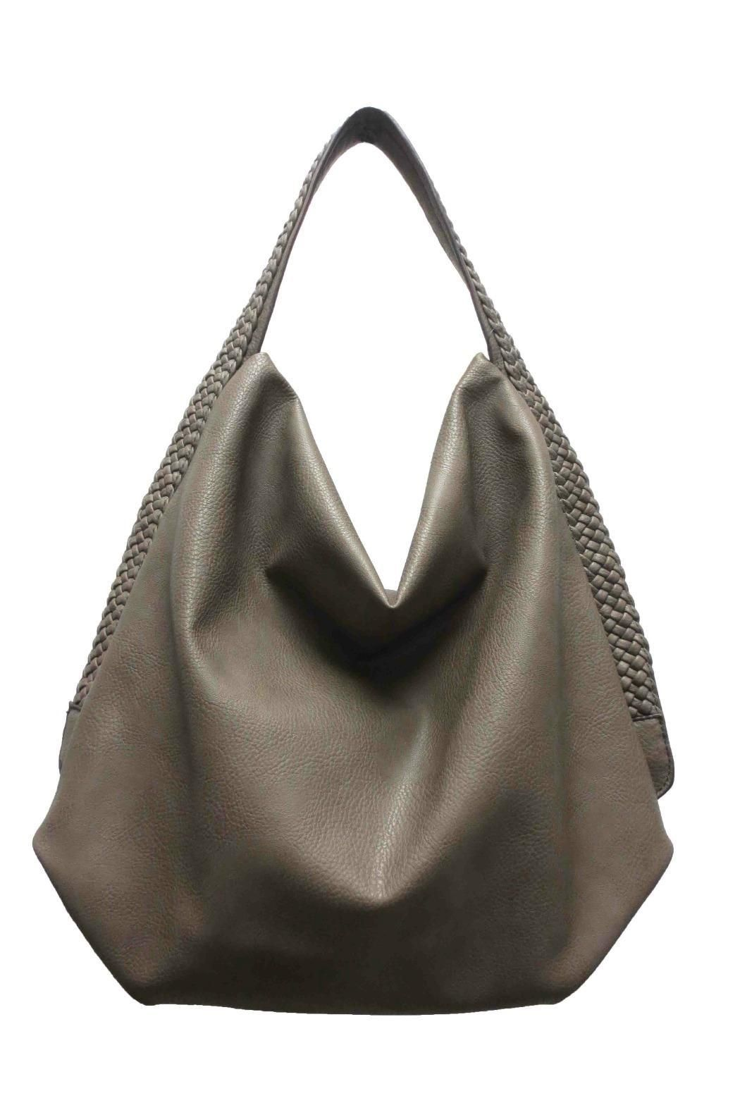 d906ef267f Lightweight fango grey leather hobo bag with braided shoulder strap.  Measurements  15.6H x 13.65 L x 13.65 W  5 Strap Drop Hobo Pepple Fango Bag  by Sondra …