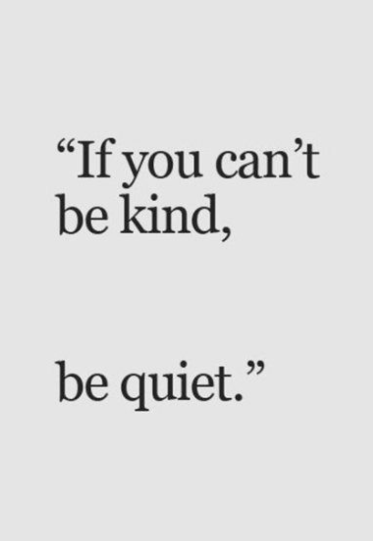 If You Cant Be Kind Be Quiet Kindness Quotes Inspirational