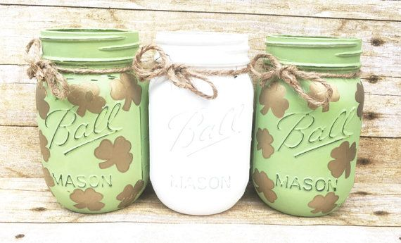 Set of 3 Hand Painted Mason Jars, St Patricks, Centerpieces, St Patricks Mason Jars, Shamrock Decor, Irish Decor, Housewarming Gifts!  Are you looking for the perfect St Patricks Day Decor? This set of 3 Hand Painted Mason Jar make the perfect St Patricks Centerpieces! They would make the perfect gift for that special love one! They make the perfect home decor for any room. You can fill these jars with fresh flower, fill them with candy? Keep these for yourself or give them to a special…