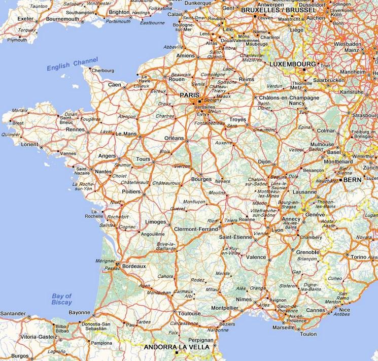 Carte Routiere Carte Des Routes De France Calcul D Itineraire Avec Ou Sans Peage Route De France Carte De France Ville Vacances En France