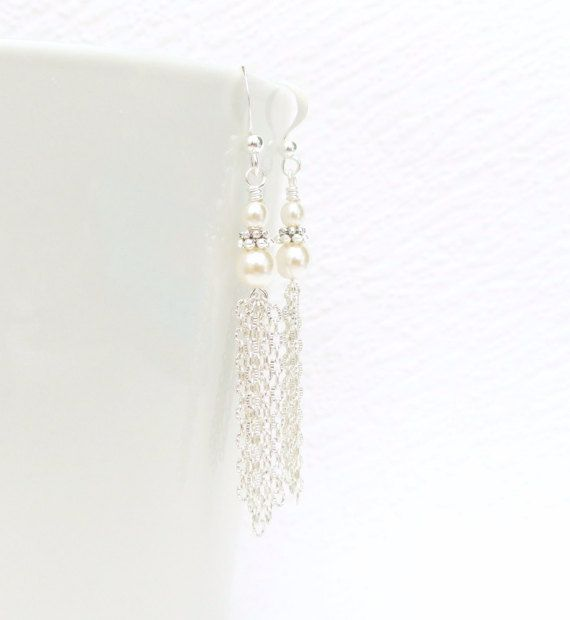 White Pearl Tassel Earring Silver Tassel Earring with by JanJat