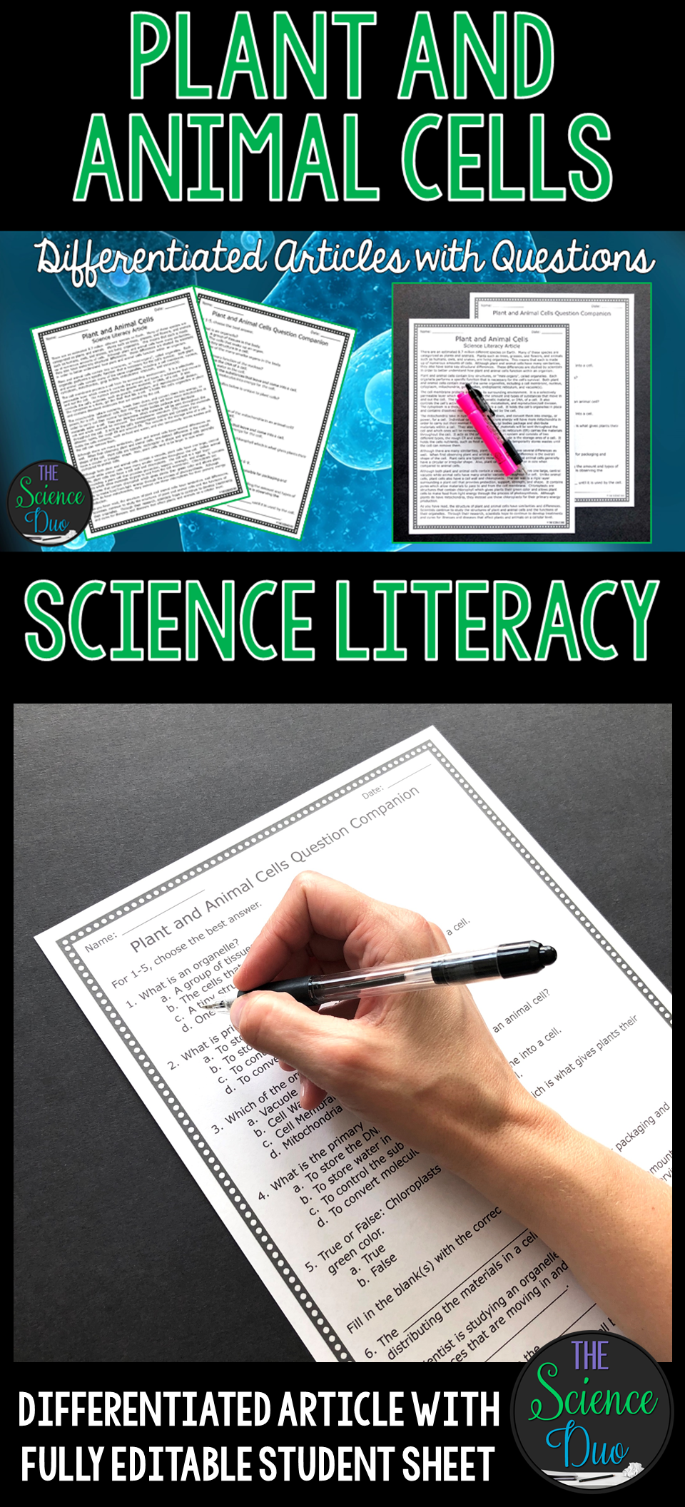 Plant And Animal Cells Science Literacy Article Distance Learning Compatible Science Literacy Middle School Science Reading Comprehension [ 2112 x 960 Pixel ]