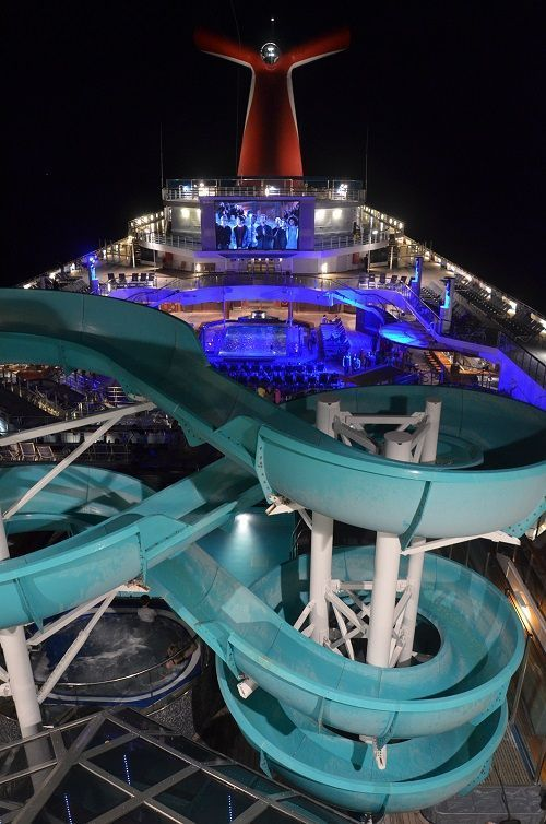 Carnival Liberty waterslide at night.   http://cruisefever.net/carnival-liberty-cruise-ship-review-and-tips/