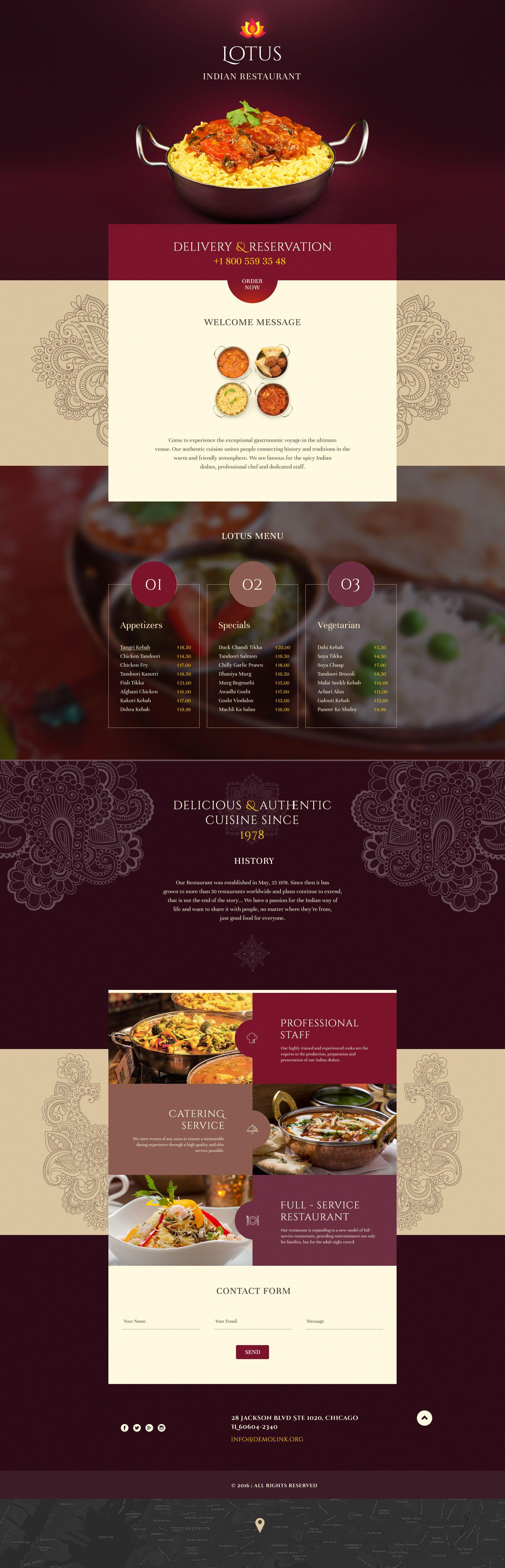 Indian Restaurant Responsive Landing Page Template | Pinterest ...
