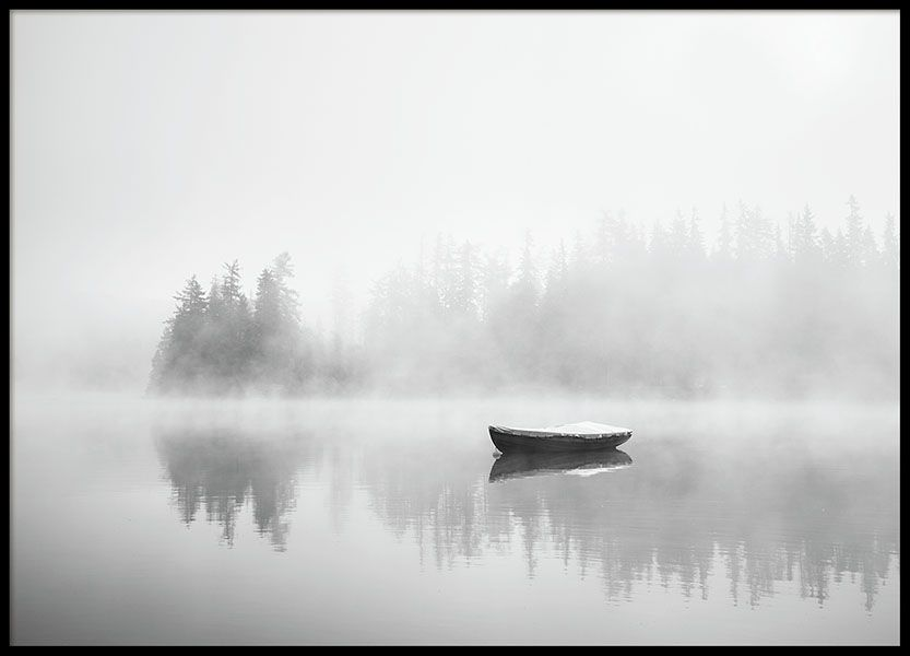 Misty Morning Boating//Fishing Lake Picture Poster Art Water Wood Framed Print