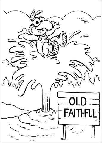 Baby Gonzo at Old Faithful geyser in Yellowstone coloring page from ...