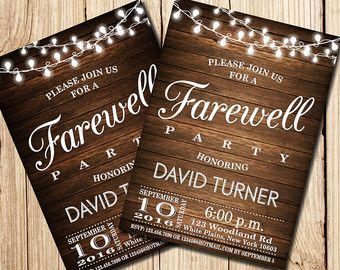 Farewell Party Invitation Farewell Invitation Rustic Farewell