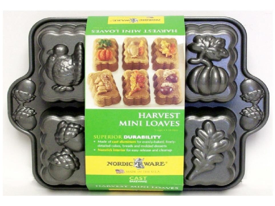 Details About Nordicware 6 Harvest Mini Loaf Loaves Pan Autumn