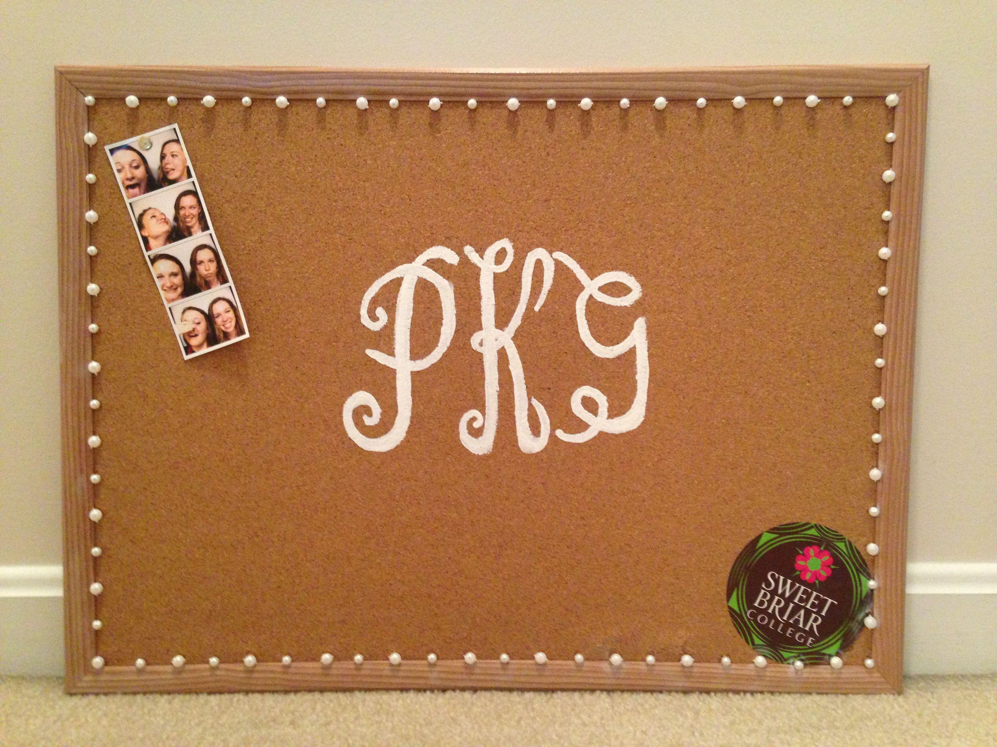 Monogrammed cork board