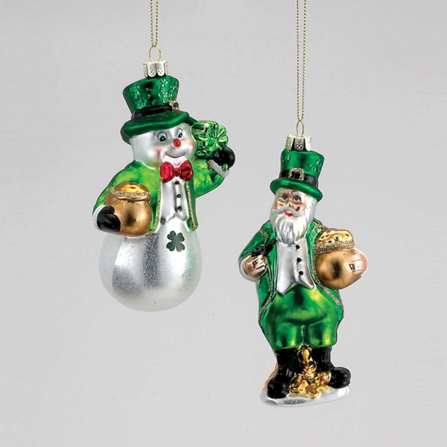 4.75 Luck of the Irish Snowman Leprechaun with Pot of Gold Glass ...