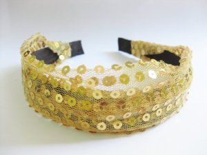 "1.75"" Yellow Gold Sequin Wrapped Headband For Girls And Women One Size Fits All by PepperLonely. $5.99"