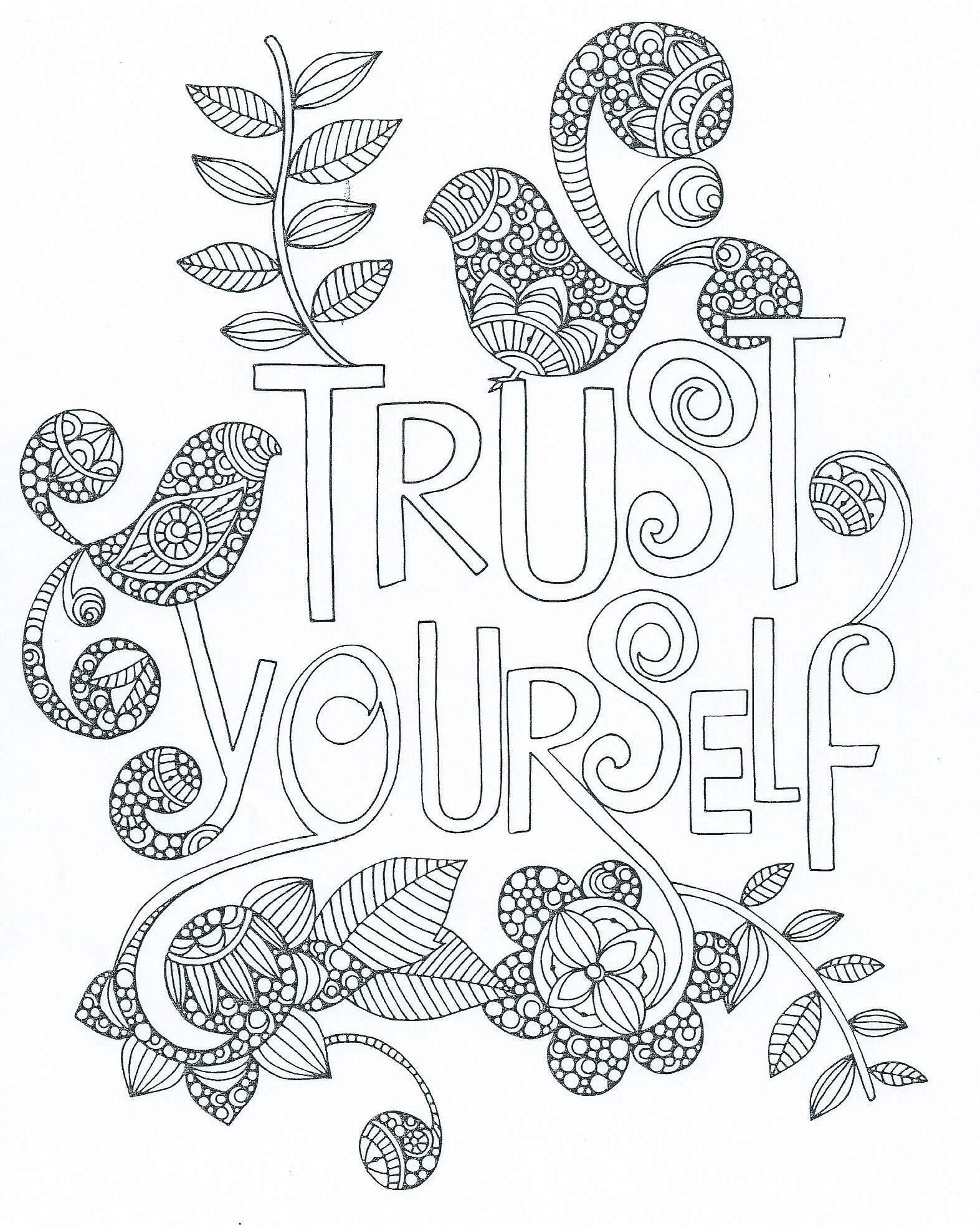 Zentangle Trust Yourself Words Quote Coloring Pages Coloring