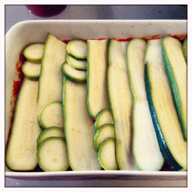 Making a no pasta lasagna ;) zucchini substitute... or eggplant