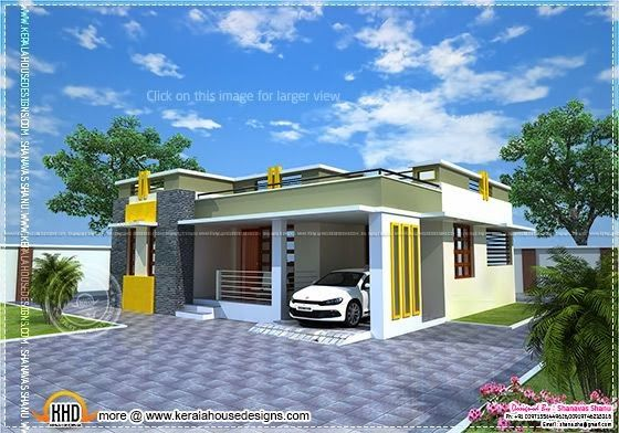 Villa Type 2 Bedroom Modern Kerala Home Design With Free Plan