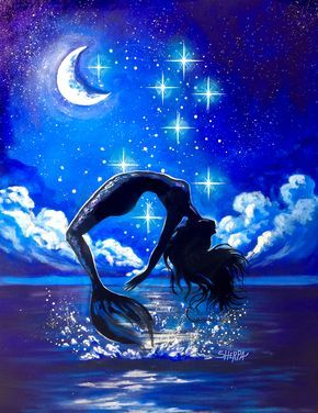 How to paint a Mermaid leaping out of the Water at Night Live Streaming