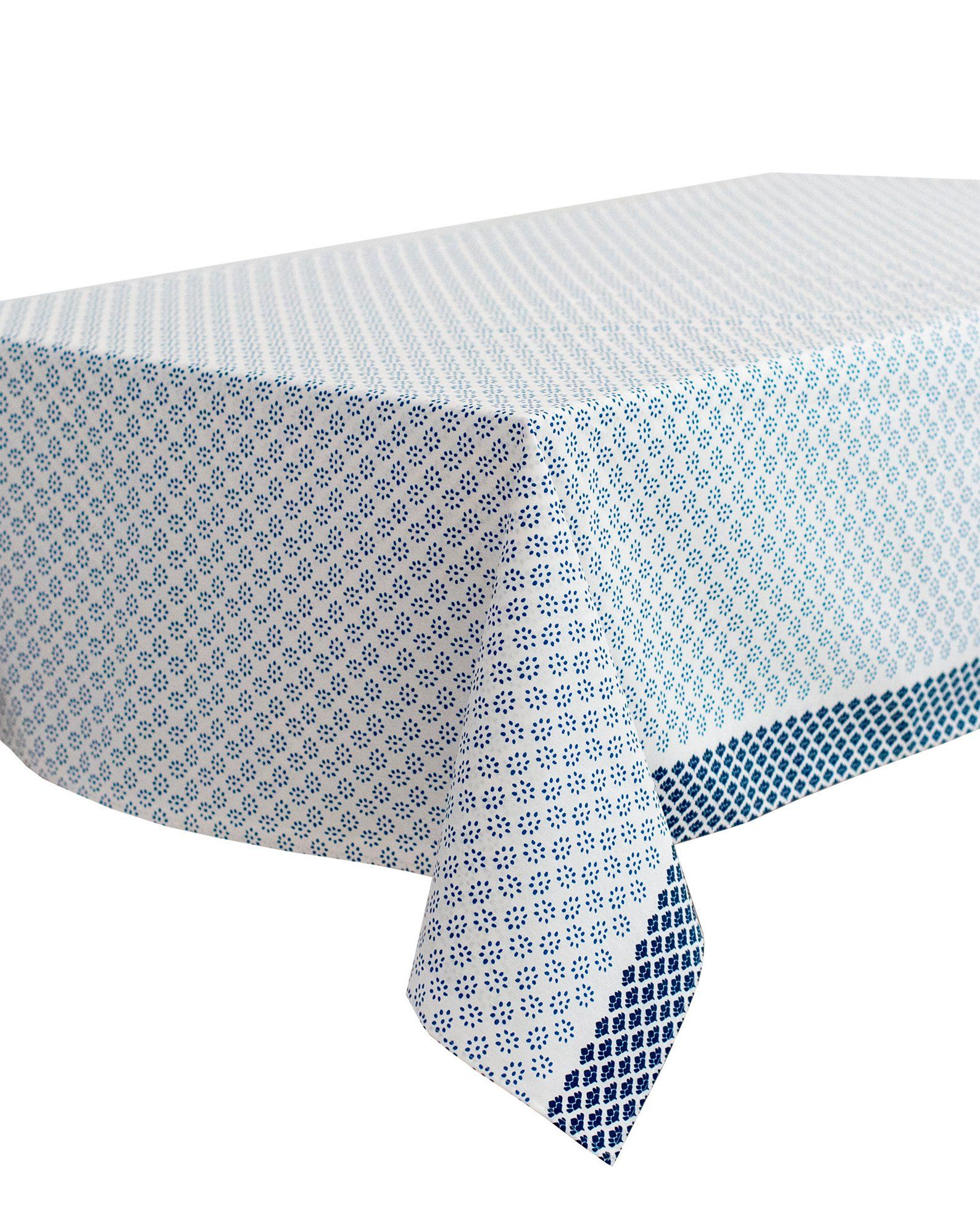 New Grimaud Blue Elegant French Rectangle Coated Tablecloths