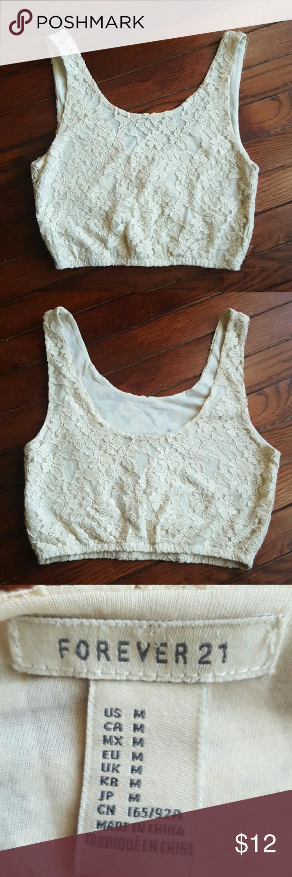 275ab356d621f Cream Floral Lace Crochet Knit Crop Top Tank Floral lace and crochet knit crop  top tank