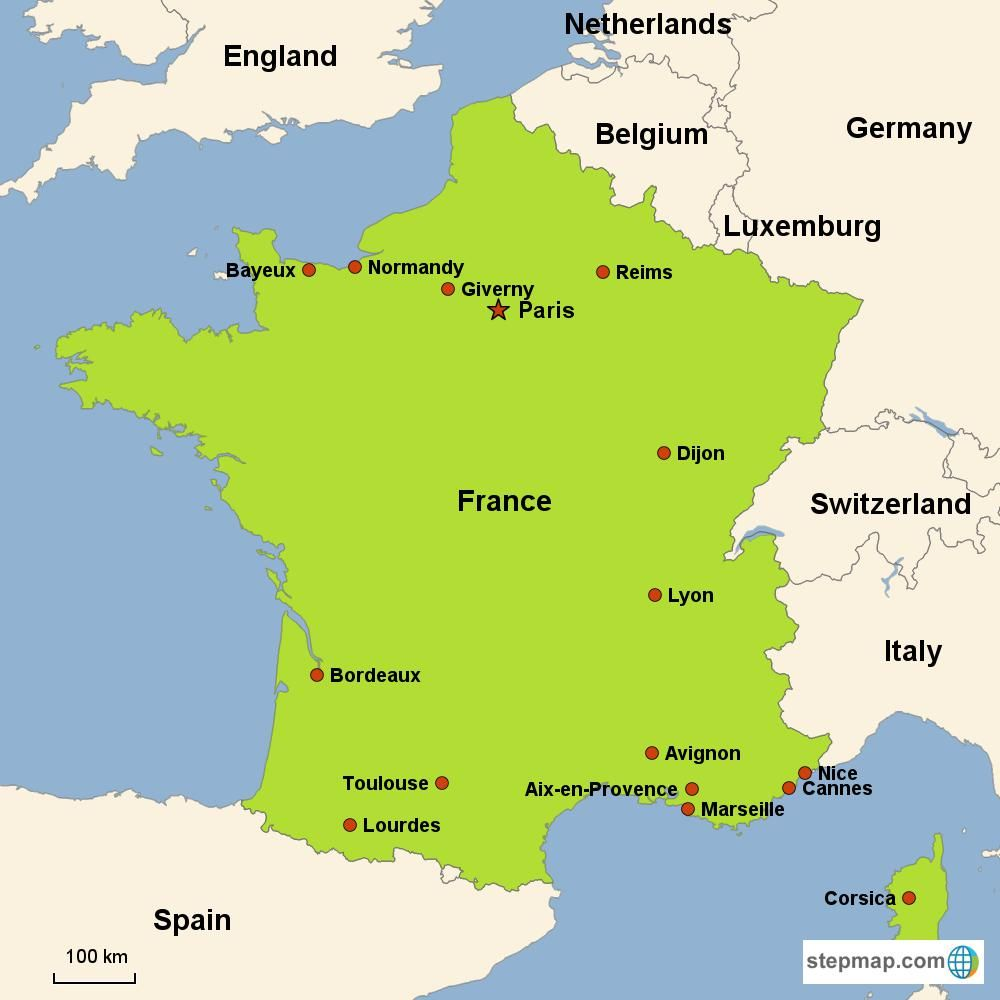 France On Europe Map Map of France in Europe | France, Vacation france, France map
