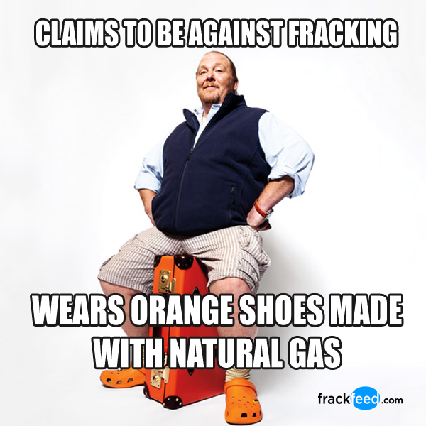 Chef Mario Batali Claims To Be Against Fracking Yet He Wears Shoes Made With Natural Gas Frackfeed Fracking Memes Mario Batali Gas