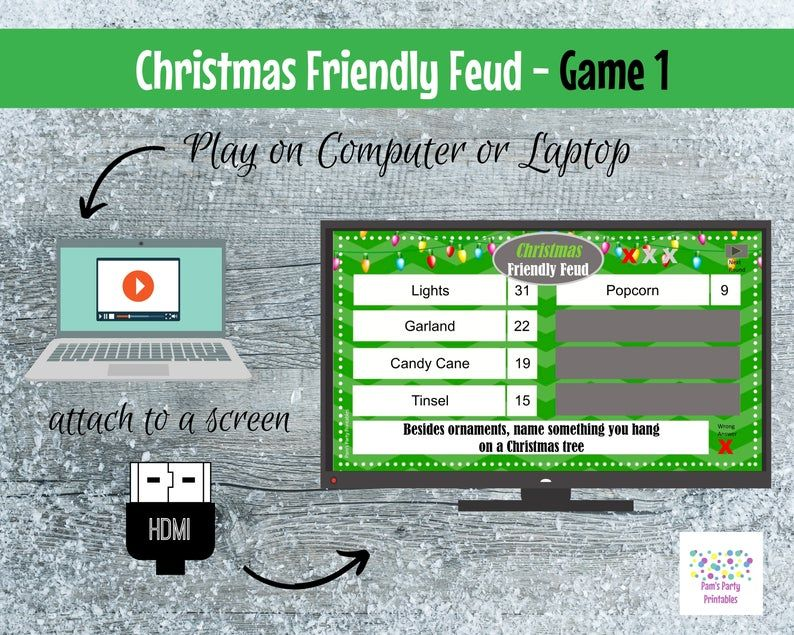 Christmas Friendly Feud GAME ONE Interactive and Editable