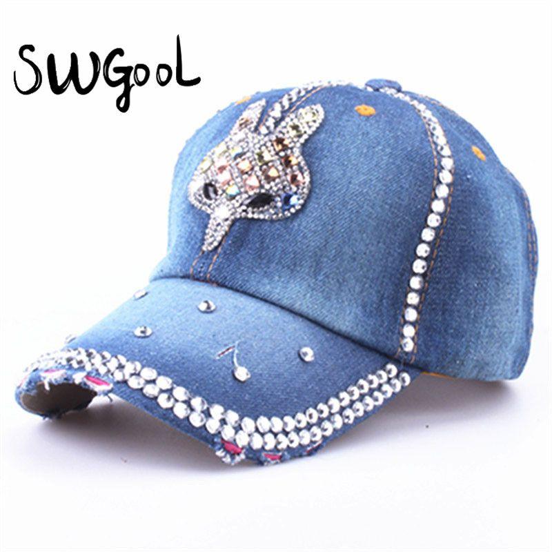 SWGOOL  Baseball Caps 2017 new fashion Rhinestones Jean hat Denim Caps  Snapback Hats Adjustable b1892368727a