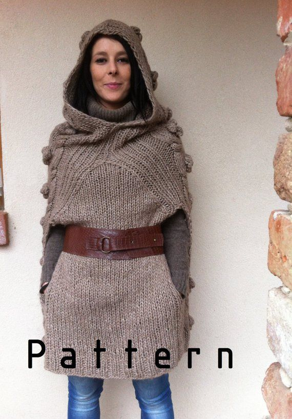Knitting pattern for Ewok Inspired Poncho and more Star Wars knitting patterns