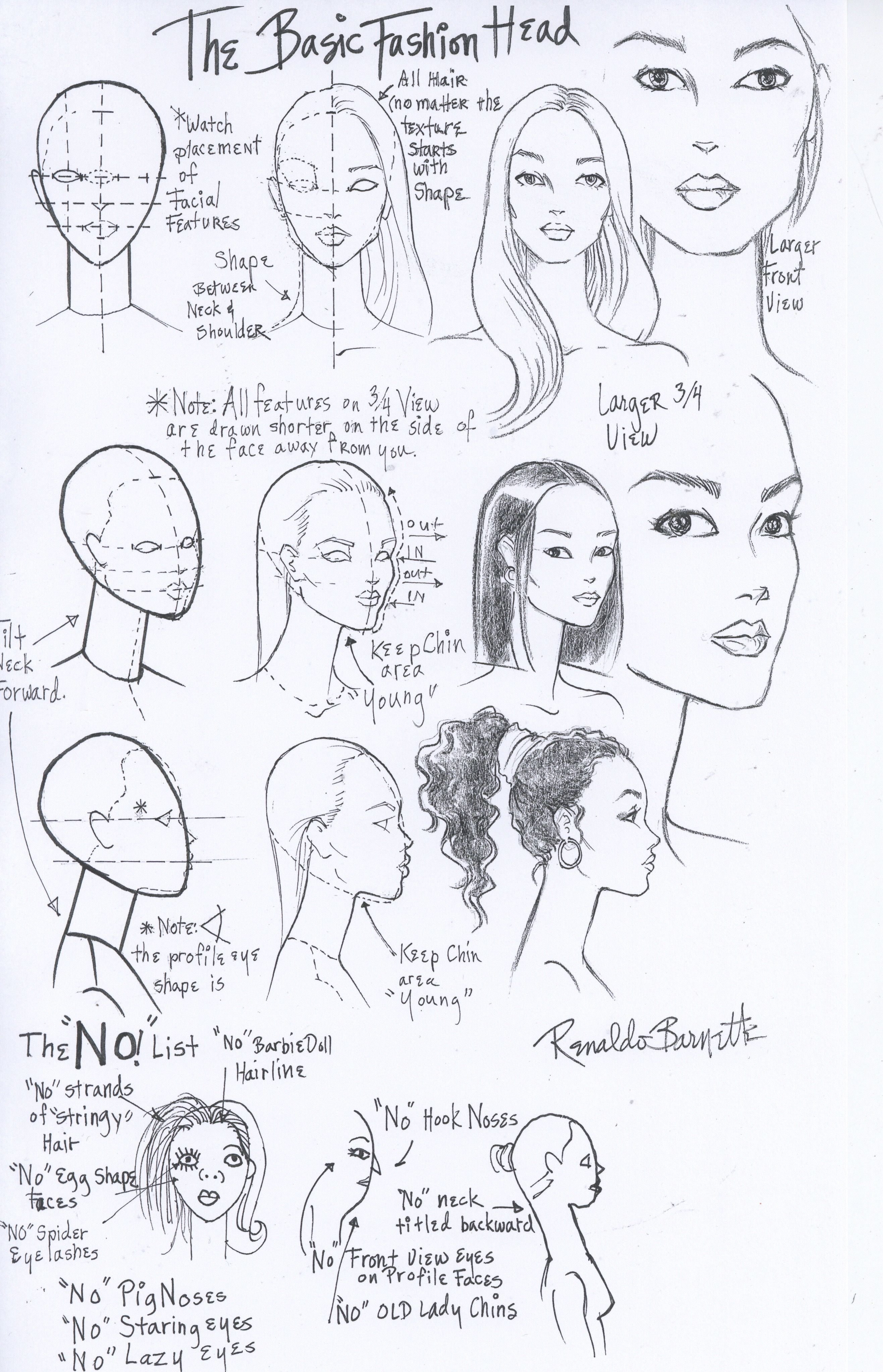 Fashion Face And Head Worksheet I Drew For My Students At