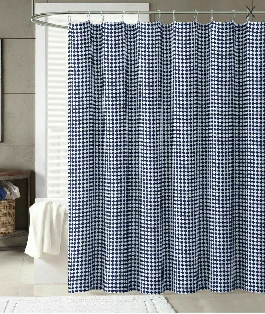 Cannon Shower Curtain Henley Navy Blue Checkered White Print
