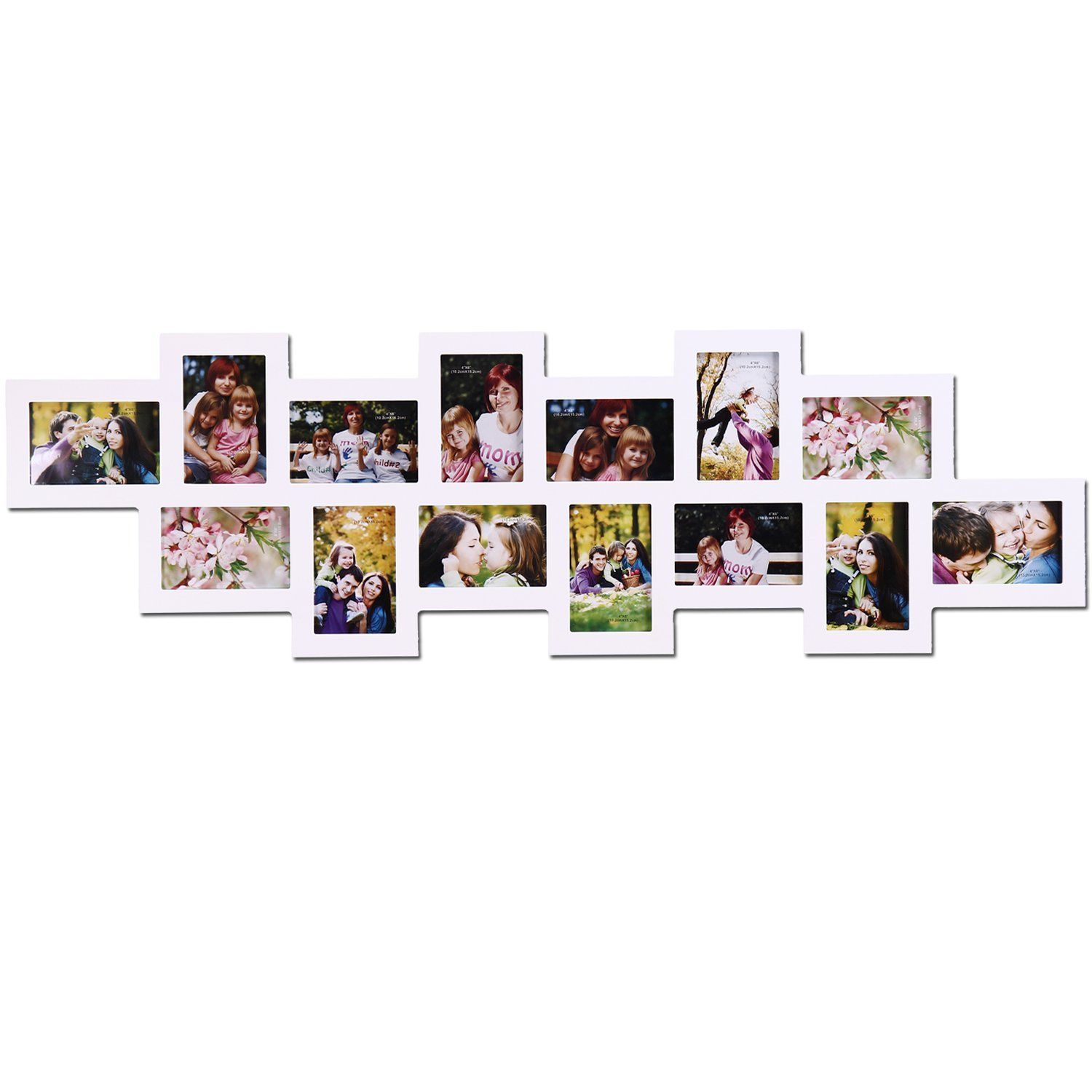 Amazon Com Adeco Pf0212 14 Opening White Wood Wall Collage Photo Picture Frames Holds 4x6 Inch Photos H Free Picture Frames Hanging Pictures Picture Collage