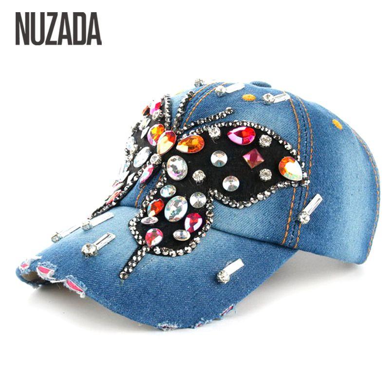 161a9d993a6 Brands NUZADA Hip Hop Hats Rhinestones Women Ladies Girls Baseball Cap  Multicolored Glass Denim Snapback Caps