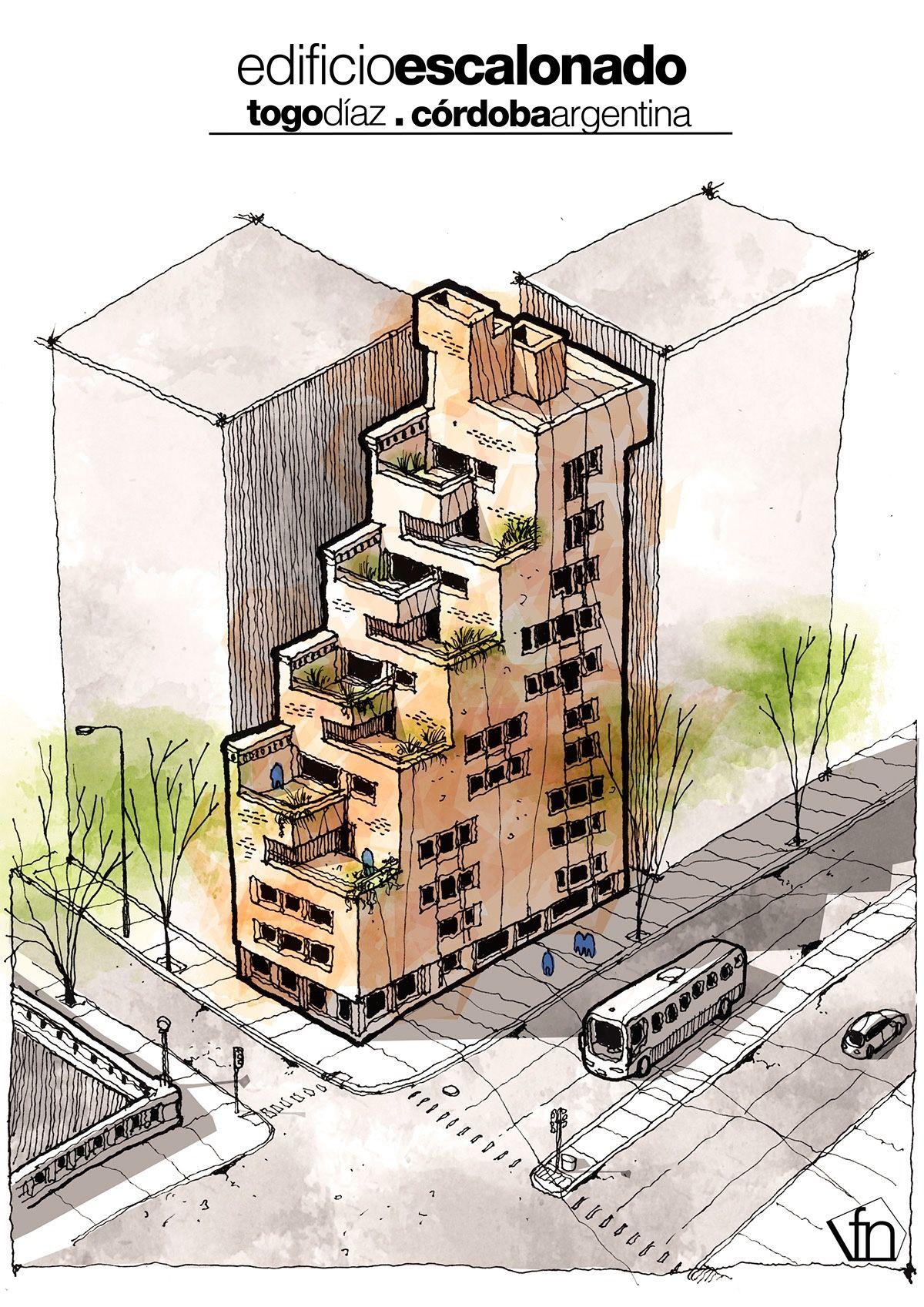 Surrealist illustrations edificio escalonado togo diaz for Estudiar diseno de interiores en argentina