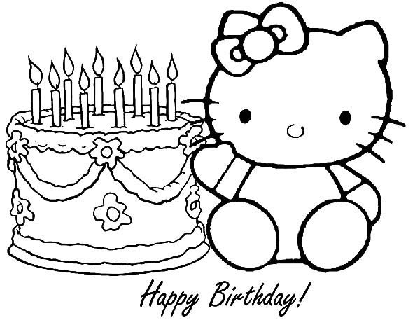 Hello Kitty Happy Birthday Party Coloring Pages Free All Coloring