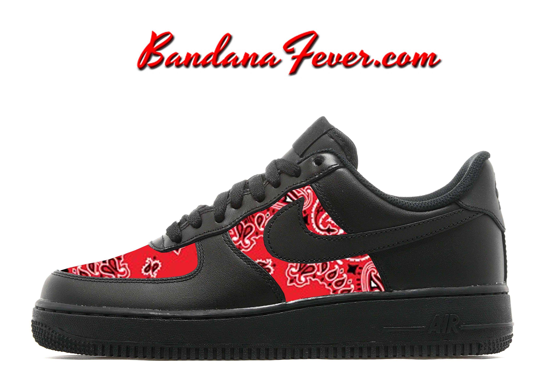 6192847c5a5563 Custom Red Bandana Nike Air Force 1 Shoes Black Low