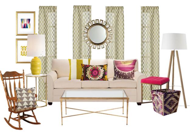 Orange, Pink and Yellow-Vibrant Living Room | Vibrant ...
