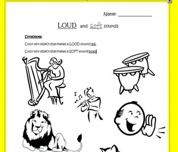 Worksheet to Help Identify Loud and Soft Sounds | Music | Pinterest