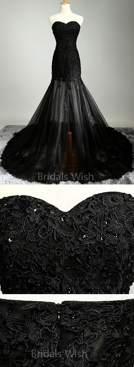 Unique black lace applique tulle sweet heart court train long