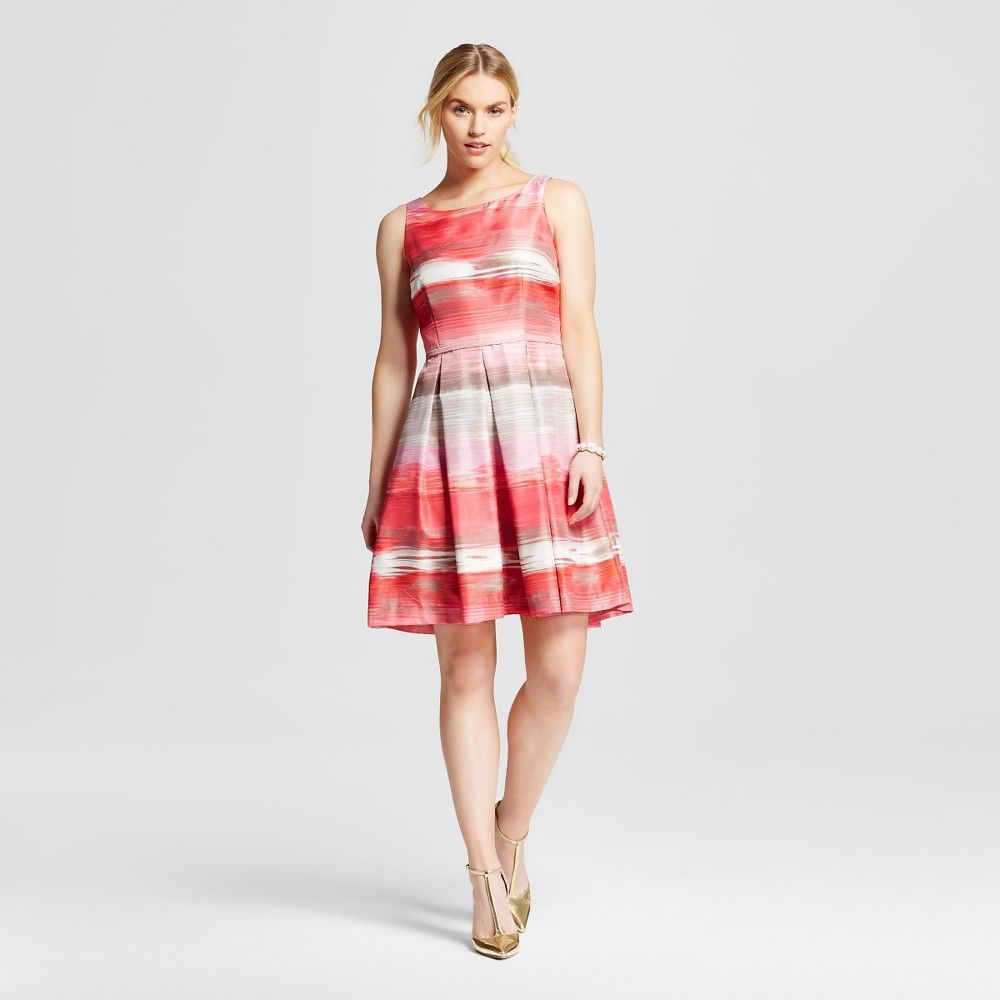 Women's Printed Boatneck Fit and Flare Dress Coral Combo