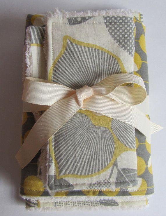 Baby Girl 5 pc. Gift Set- Amy Butler Fabrics-Bib, Burp Cloth, Security Blanket, Reusable Wipes